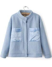 Blue Stand Collar Long Sleeve Pockets Woolen Coat