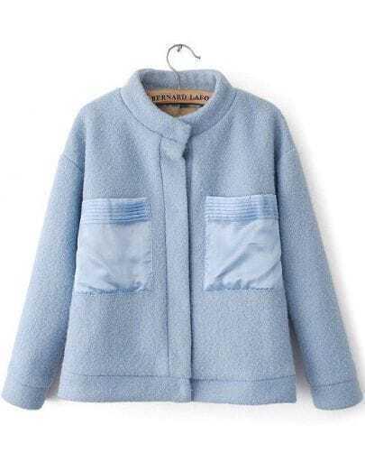Blue Stand Collar Long Sleeve Pockets Woolen Coat