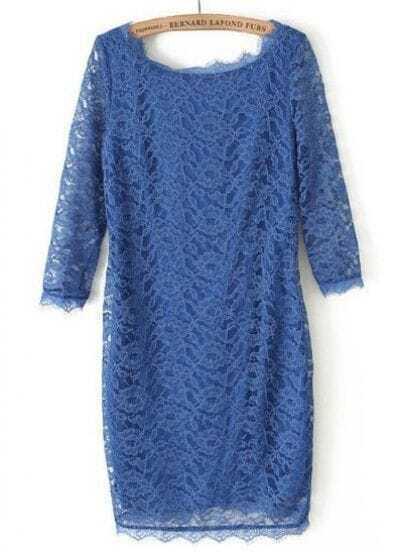Royal Blue Long Sleeve Slim Lace Bodycon Dress
