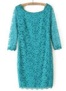 Turquoise Long Sleeve Slim Lace Bodycon Dress