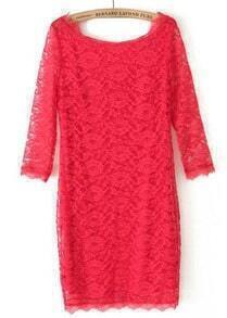 Red Long Sleeve Slim Lace Bodycon Dress