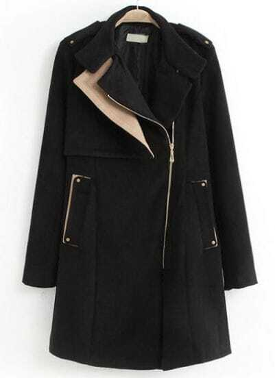 Black Long Sleeve Epaulet Oblique Zipper Woolen Coat