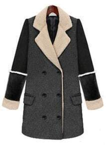 Grey Lapel Long Sleeve Buttons Tweed Coat