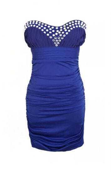 Blue Sleeveless Rhinestone Strapless Bodycon Dress