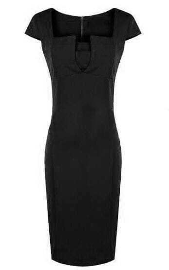 Black Square Neck Cap Sleeve Sheath Dress