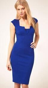 Royal Blue Square Neck Cap Sleeve Sheath Dress
