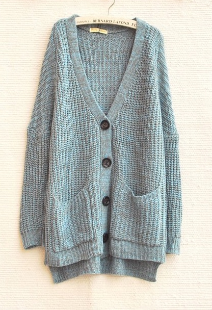 Blue Batwing Sleeve Pockets Oversized Cardigan Sweater -SheIn ...