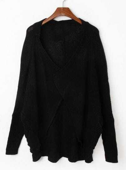 Black Batwing Sleeve Loose Cardigan Sweater