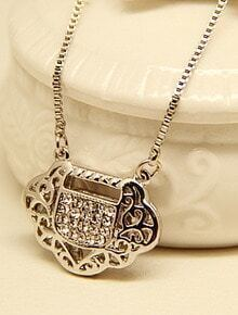 Silver Longevity Lock Chain Necklace