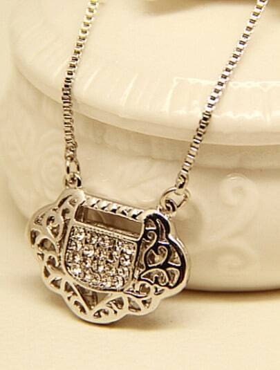 Silver Longevity Lock Chain Necklace