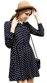 Black Long Sleeve Polka Dot Belt Dress