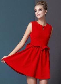 Red Sleeveless Pleated Waist Dress