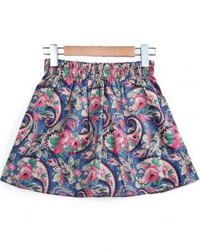 Blue Elastic Waist Vintage Floral Skirt