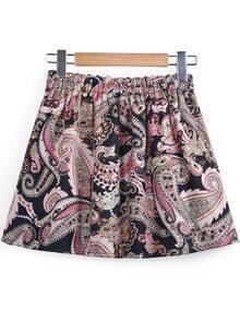Black Elastic Waist Vintage Floral Skirt