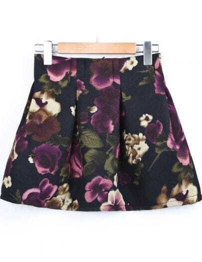 Black High Waist Floral Ruffle Skirt