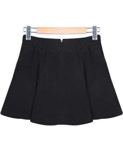 Black Elastic Waist Zipper Ruffle Skirt