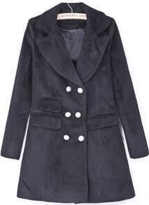 Black Lapel Long Sleeve Double Breasted Woolen Coat
