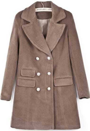 Camel Lapel Long Sleeve Double Breasted Woolen Coat