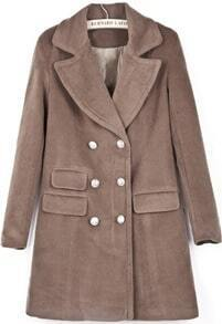 Camel Lapel Long Sleeve Double Breasted Woolen Coat