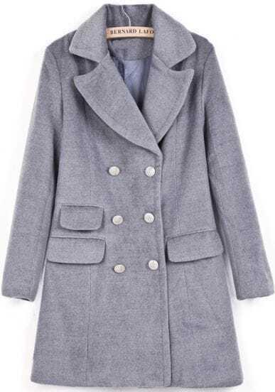 Grey Lapel Long Sleeve Double Breasted Woolen Coat