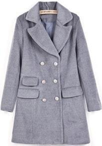 Grey Lapel Long Sleeve Double Breasted Woolen Coat