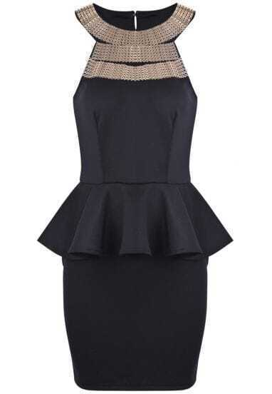 Black Sleeveless Metal Embellished Ruffle Bodycon Dress