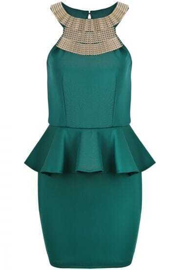 Green Sleeveless Metal Embellished Ruffle Bodycon Dress