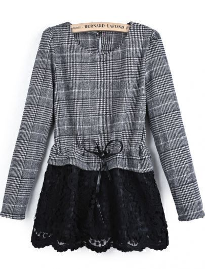 Grey Long Sleeve Contrast Lace Drawstring Blouse