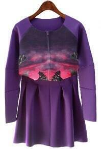 Purple Long Sleeve Portrait Print Top With Skirt