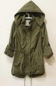 Army Green Long Sleeve Hooded Drawstring Coat