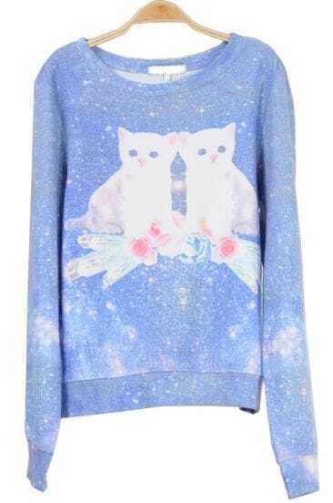 Muti Long Sleeve Galaxy Cat Pattern Sweatshirt