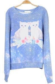 Muti Long Sleeve Galaxy Cat Pattern Sweatshirt