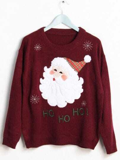 Red Long Sleeve Santa Claus Pattern Sweater