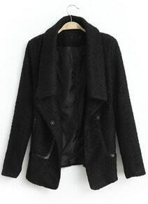 Black Lapel Long Sleeve Loose Tweed Coat