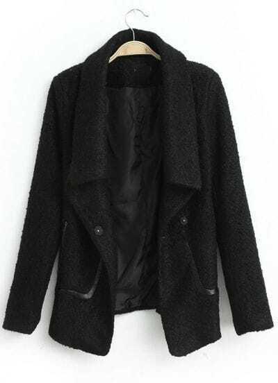 Black Lapel Long Sleeve Loose Tweed Coat