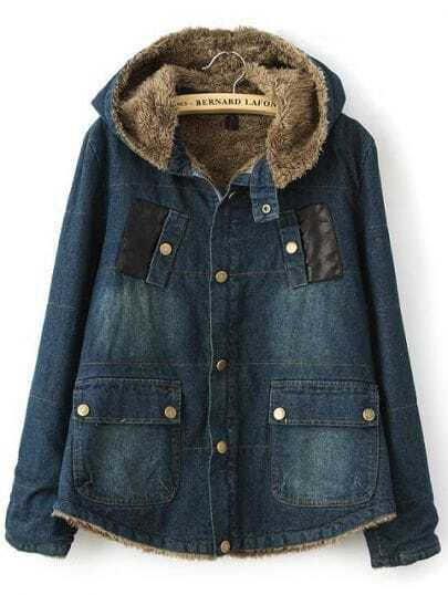 Navy Hooded Long Sleeve Pockets Denim Coat