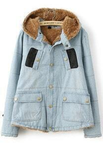 Blue Hooded Long Sleeve Pockets Denim Coat