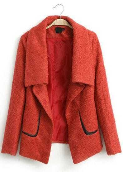 Orange Lapel Long Sleeve Loose Tweed Coat