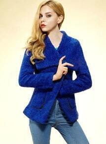 Blue Lapel Long Sleeve Loose Tweed Coat