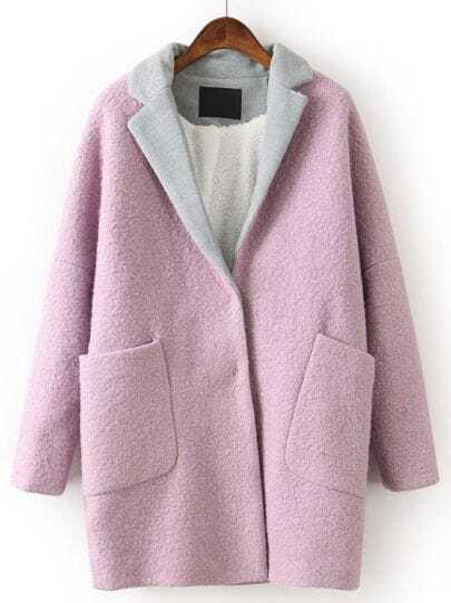 Purple Contrast Lapel Long Sleeve Pockets Coat