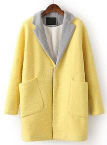 Yellow Contrast Lapel Long Sleeve Pockets Coat