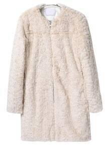 Beige Long Sleeve Slim Faux Fur Coat
