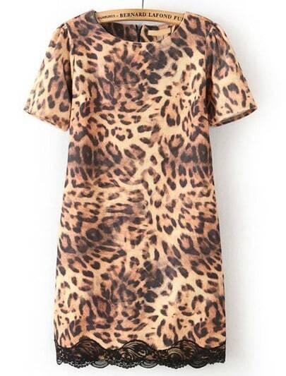 Leopard Short Sleeve Contrast Lace Slim Dress