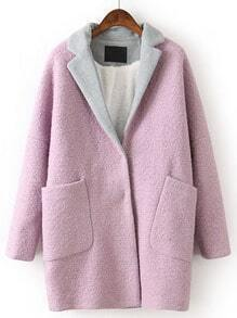 Purple Contrast Lapel Long Sleeve Pockets Coat