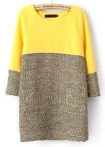 Yellow Long Sleeve Contrast Grey Straight Dress