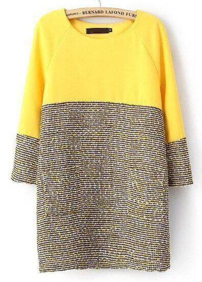 Yellow Long Sleeve Contrast Grey Straight Dress