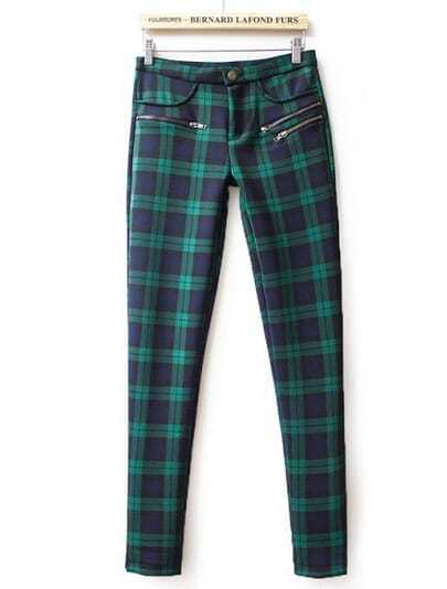Green High Waist Plaid Elastic Pant