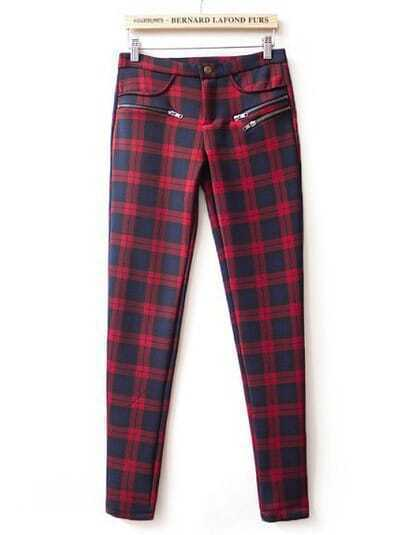Red High Waist Plaid Elastic Pant