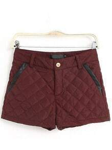 Red Slim Diamond Patterned Shorts