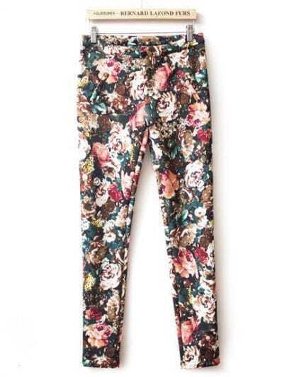 Black Slim Vintage Floral Pant